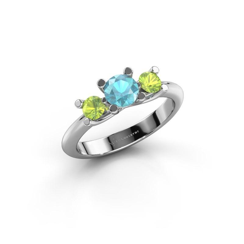 Ring Mirthe 585 Weißgold Blau Topas 5 mm