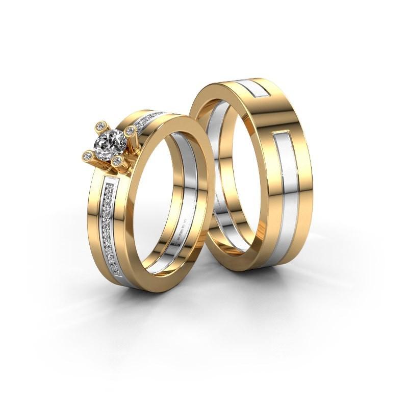 Trouwringen set WHR0530LM16BP ±6x2 mm 14 karaat goud diamant 0.25 crt
