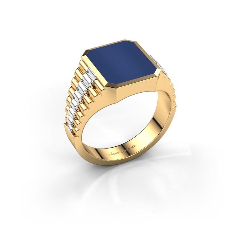 Zegelring Brent 2 585 goud lapis lazuli 12x10 mm