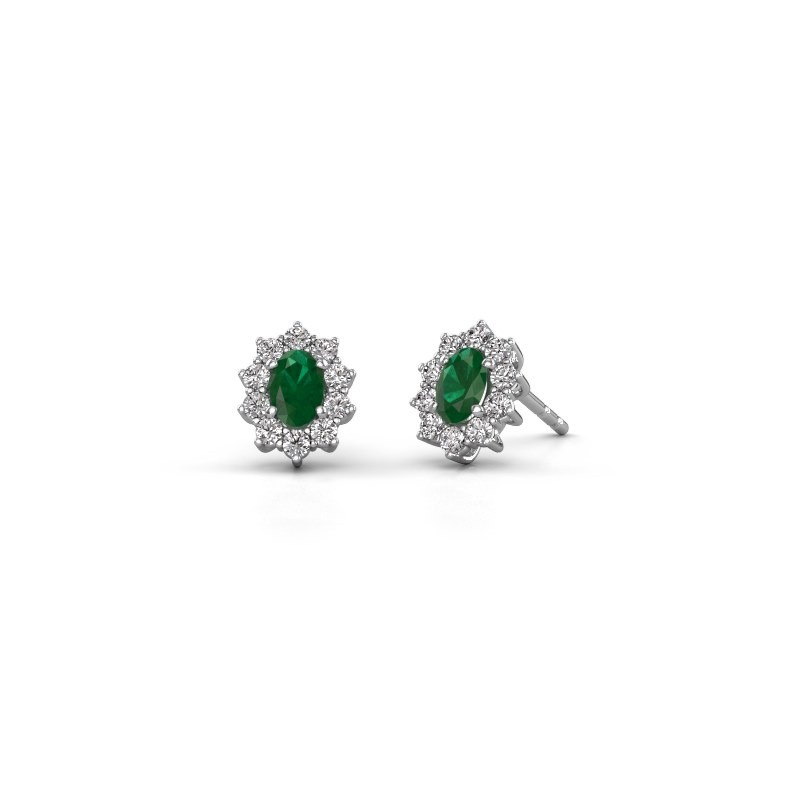 Earrings Leesa 925 silver emerald 6x4 mm