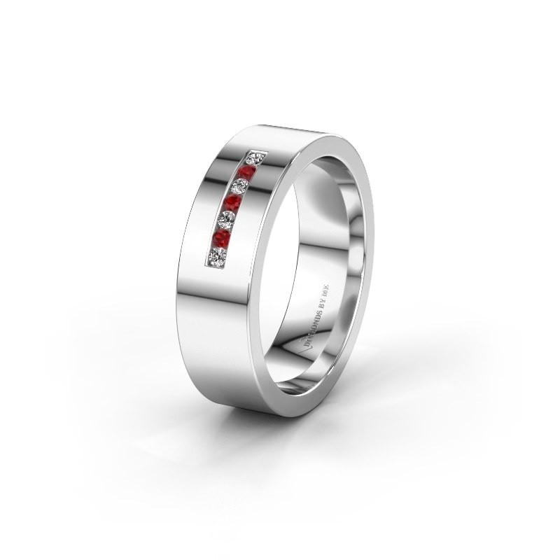 Wedding ring WH0108L16BP 950 platinum ruby ±0.24x0.08 in