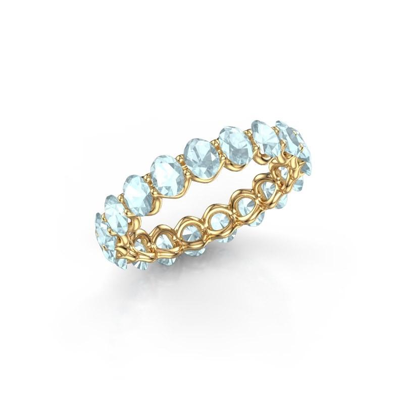 Ring Kirsten OVL 4x3 375 Gold Aquamarin 4x3 mm