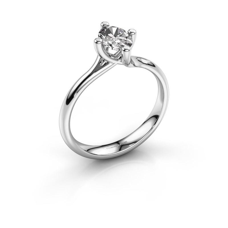 Engagement ring Dewi Oval 950 platinum zirconia 7x5 mm