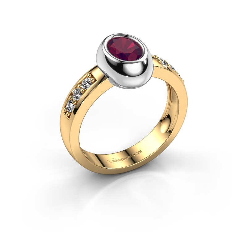 Ring Charlotte Oval 585 gold rhodolite 7x5 mm