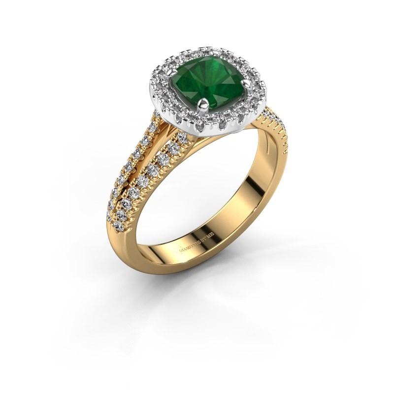 Verlovingsring Francesca 585 goud smaragd 6 mm