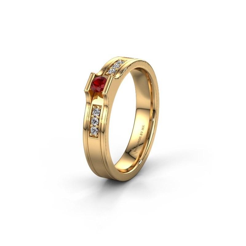 Trouwring WH2110L14A 585 goud robijn ±4x1.7 mm