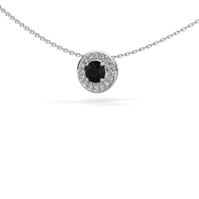 Hanger Agaat 585 witgoud zwarte diamant 0.76 crt