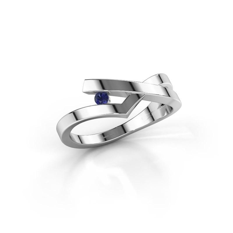 Ring Pamella 585 witgoud saffier 2.2 mm