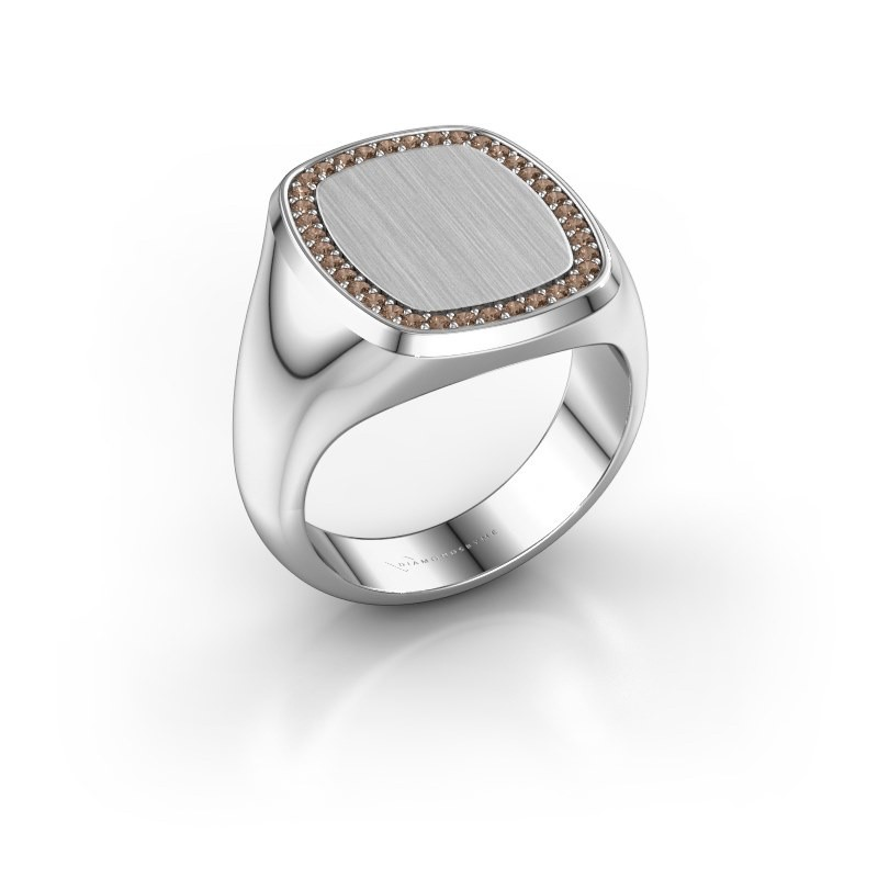 Men's ring Floris Cushion 4 950 platinum brown diamond 0.278 crt