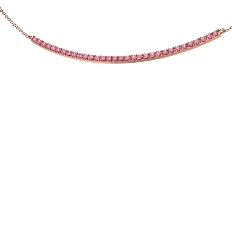 Collier barre Simona 375 or rose saphir rose 1.5 mm