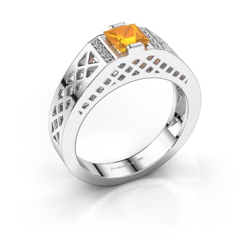 Heren ring Jonathan 950 platina citrien 5 mm