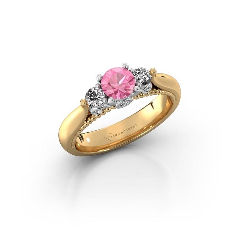 Verlovingsring Tiffani 585 goud roze saffier 5 mm