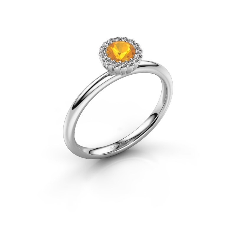 Engagement ring Queen 585 white gold citrin 4.2 mm