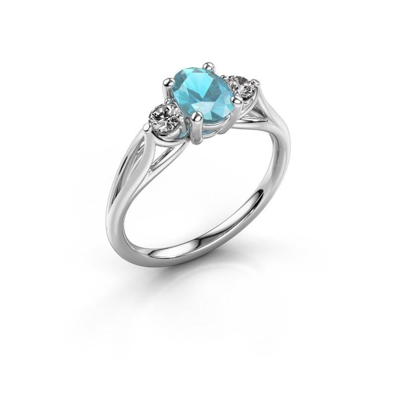 Verlovingsring Amie OVL 585 witgoud blauw topaas 7x5 mm
