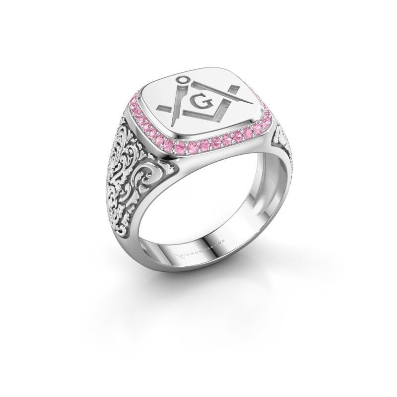 Men's ring Hugo 925 silver pink sapphire 1.2 mm