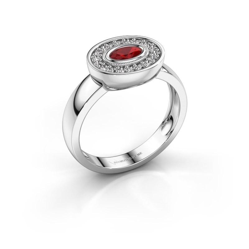 Ring Azra 585 Weißgold Rubin 5x3 mm