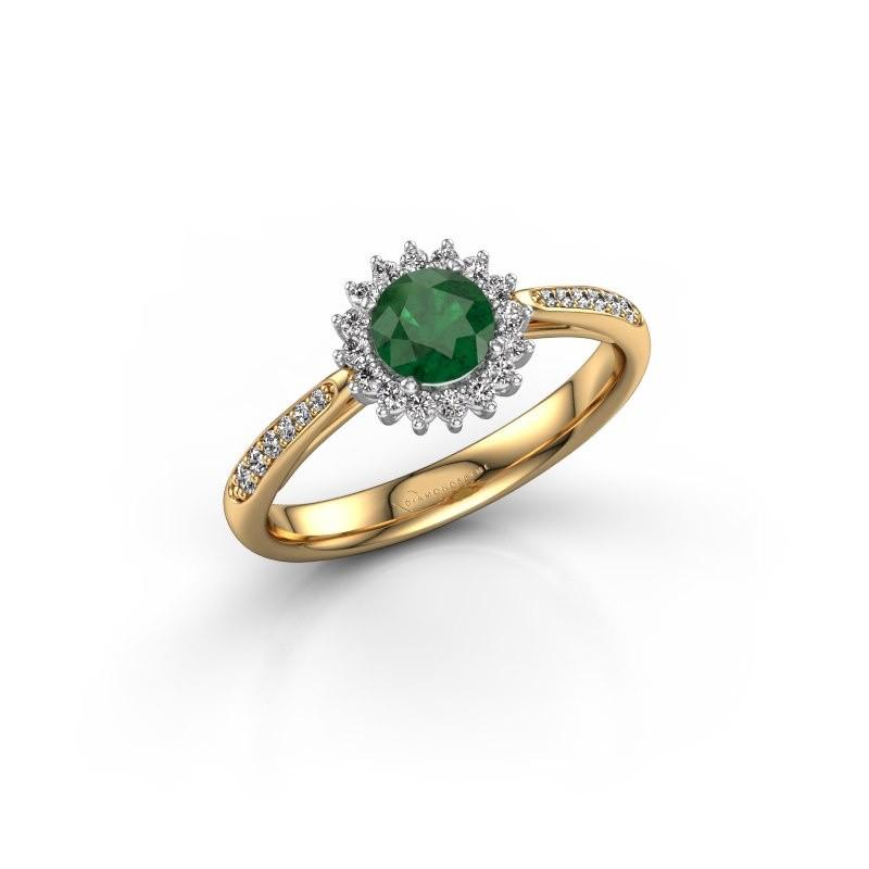 Verlovingsring Tilly RND 2 585 goud smaragd 5 mm