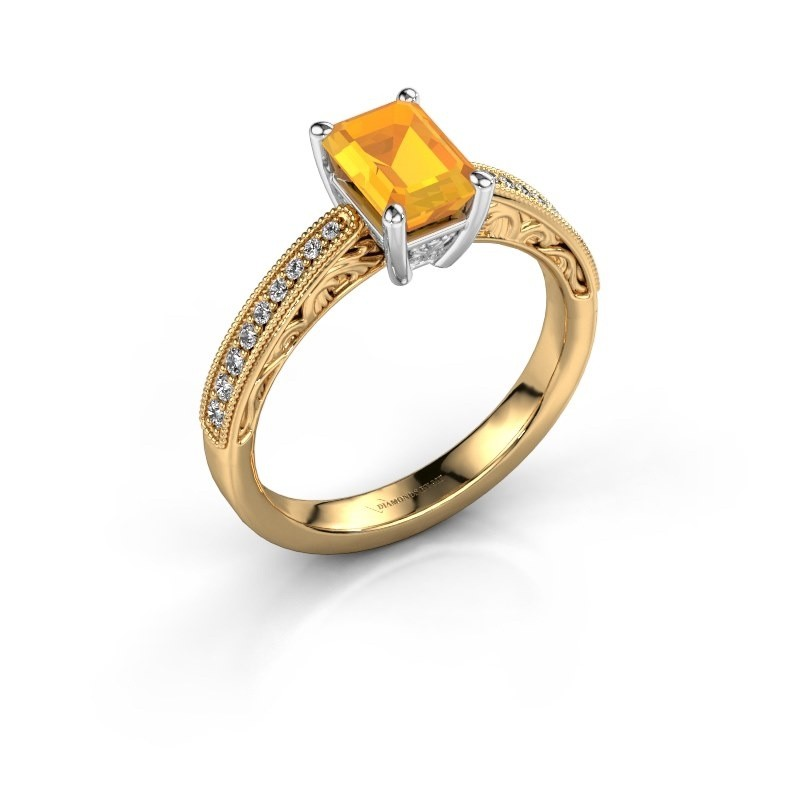 Verlovingsring Shonta EME 585 goud citrien 7x5 mm