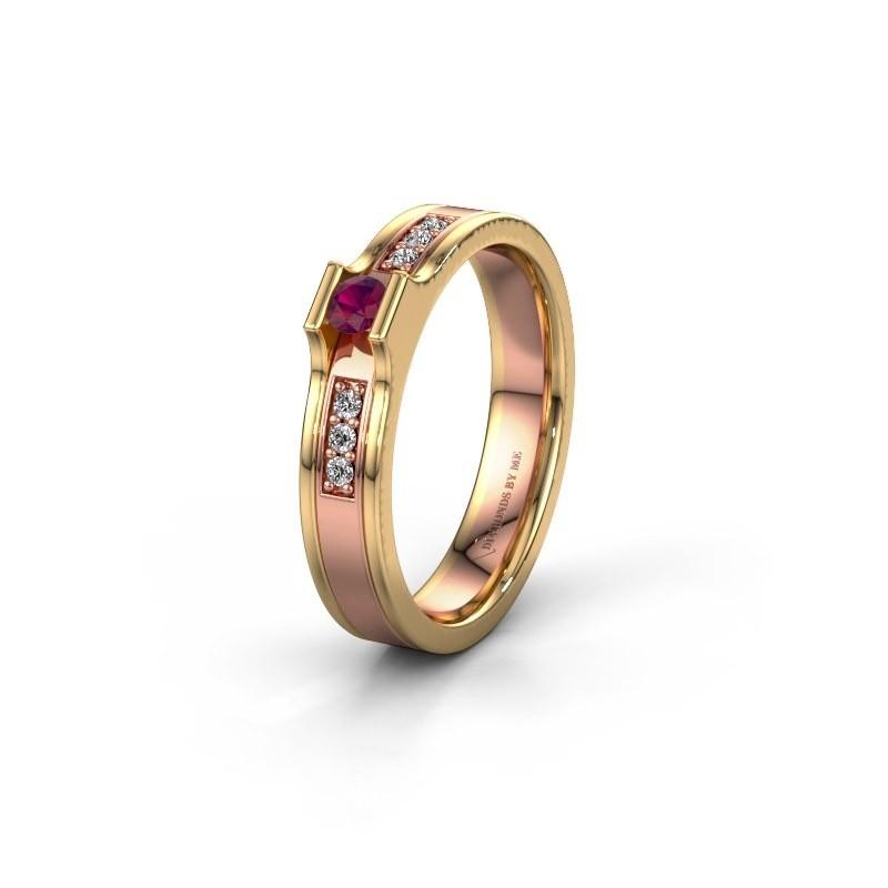 Trouwring WH2110L14A 585 rosé goud rhodoliet ±4x1.7 mm