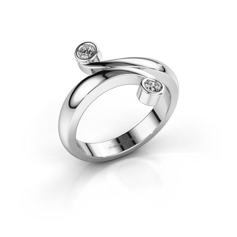 Ring Hilary 585 witgoud lab-grown diamant 0.12 crt