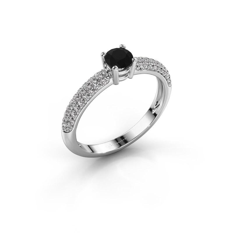 Verlovingsring Marjan 585 witgoud zwarte diamant 0.722 crt