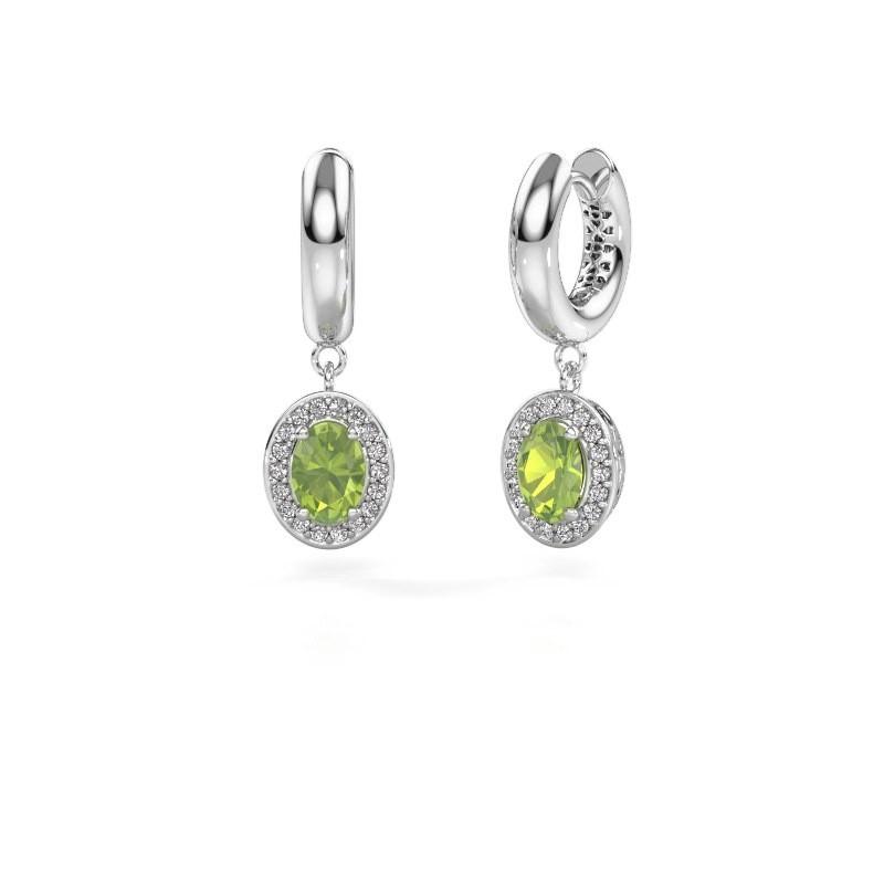 Drop earrings Annett 375 white gold peridot 7x5 mm