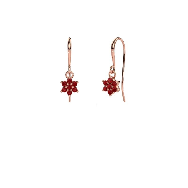 Drop earrings Dahlia 1 375 rose gold ruby 1.7 mm