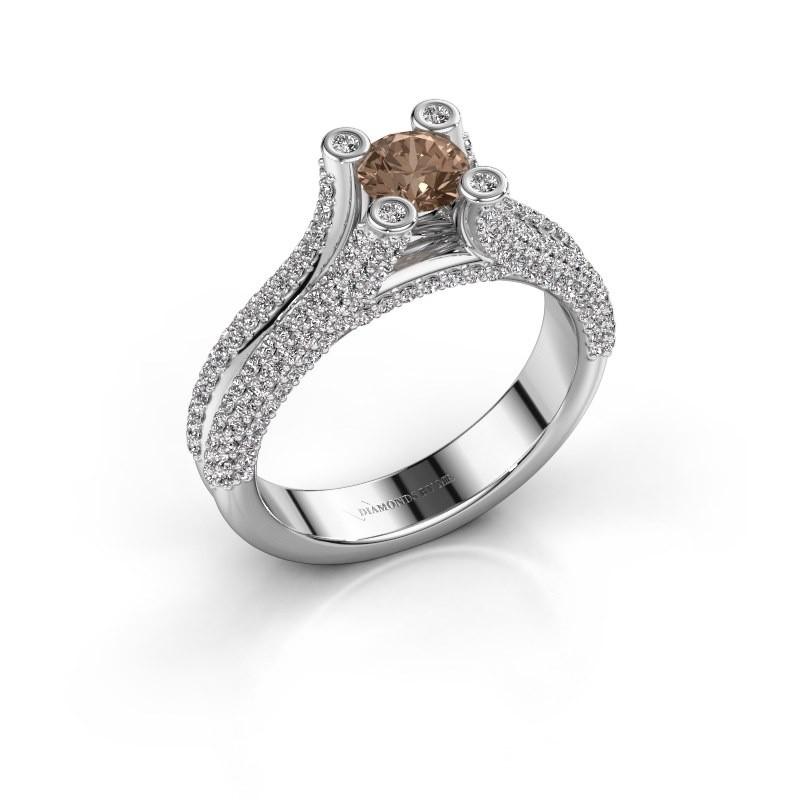 Verlobungsring Stefanie 2 585 Weißgold Braun Diamant 1.50 crt
