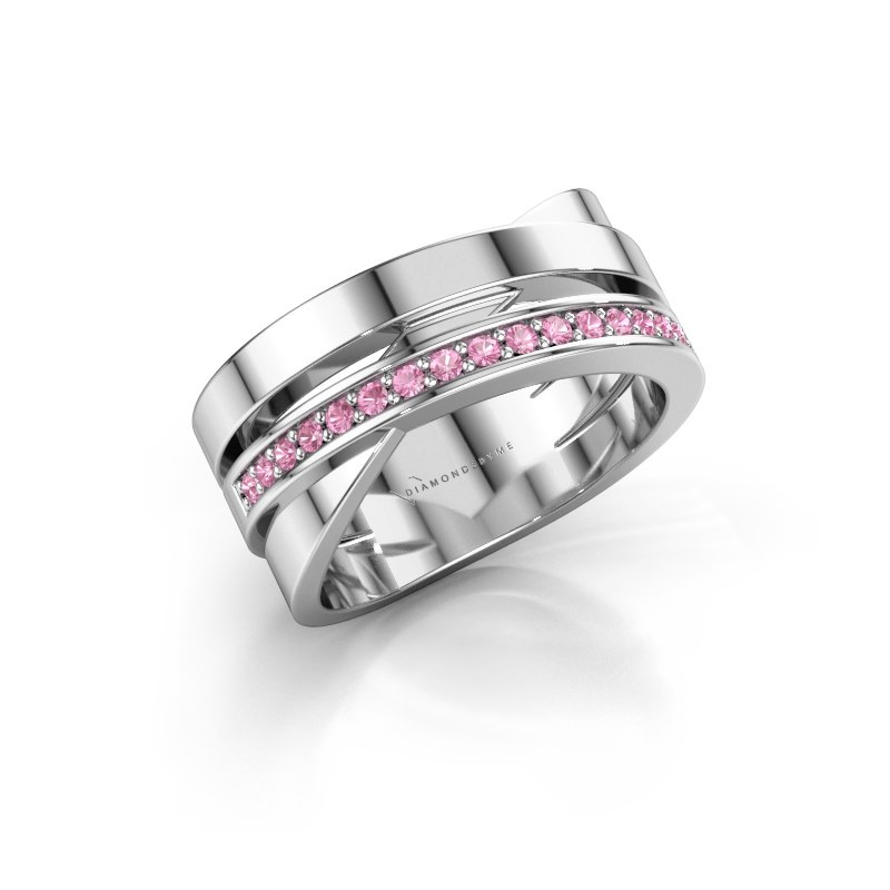 Ring Yolando 585 white gold pink sapphire 1.3 mm