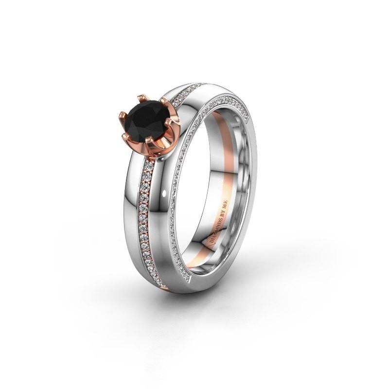 Weddings ring WH0416L25E 585 rose gold black diamond ±5x2.6 mm