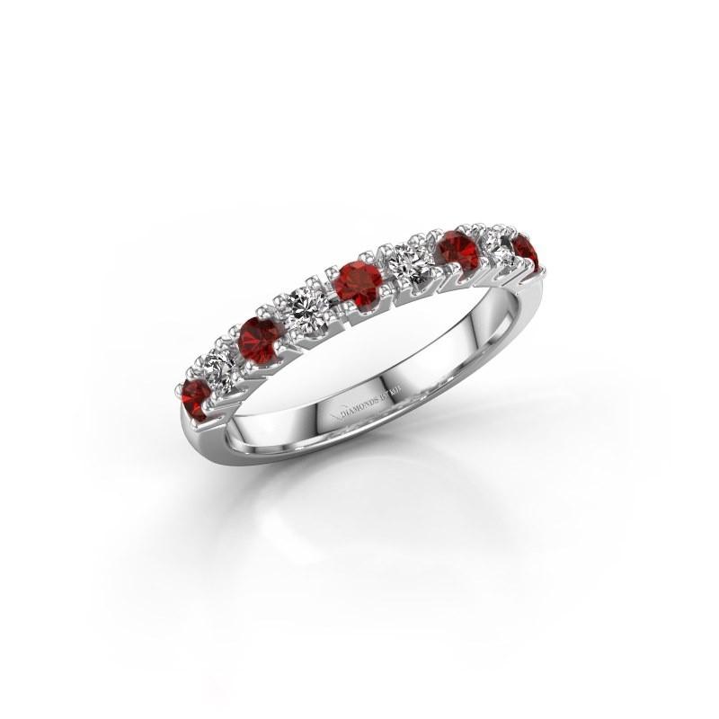 Engagement ring Rianne 9 585 white gold garnet 2.4 mm