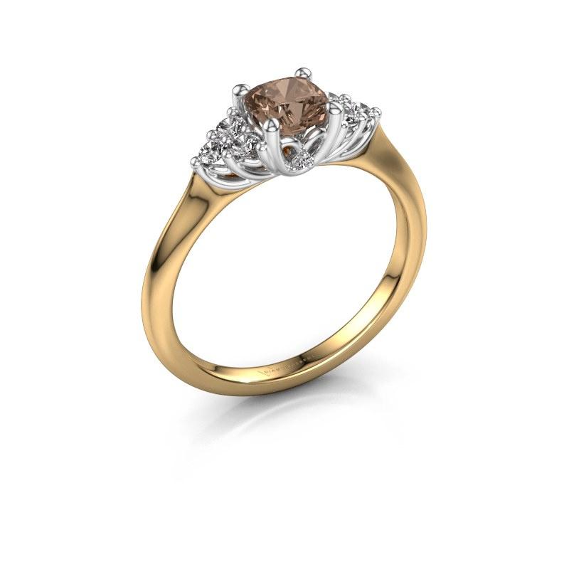 Verlovingsring Felipa CUS 585 goud bruine diamant 0.693 crt