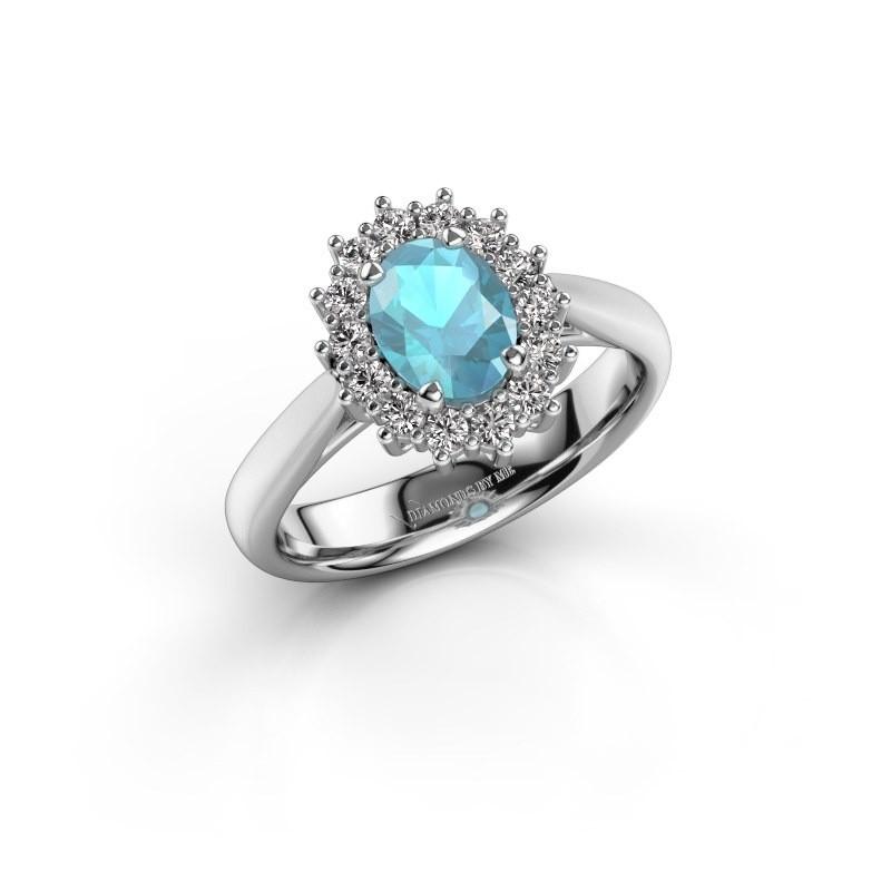 Verlovingsring Margien 1 925 zilver blauw topaas 7x5 mm