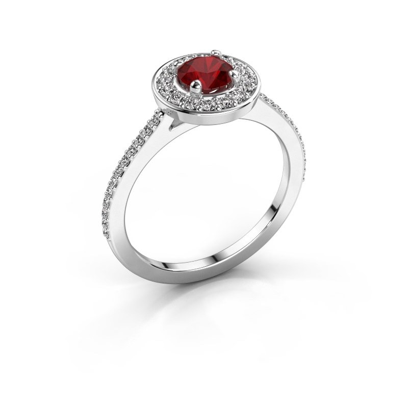 Ring Agaat 2 585 white gold ruby 5 mm