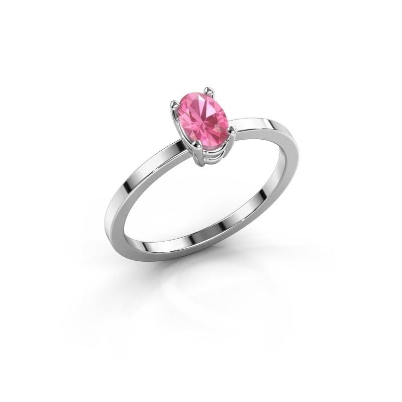 Ring Lynelle 1 925 zilver roze saffier 6x4 mm