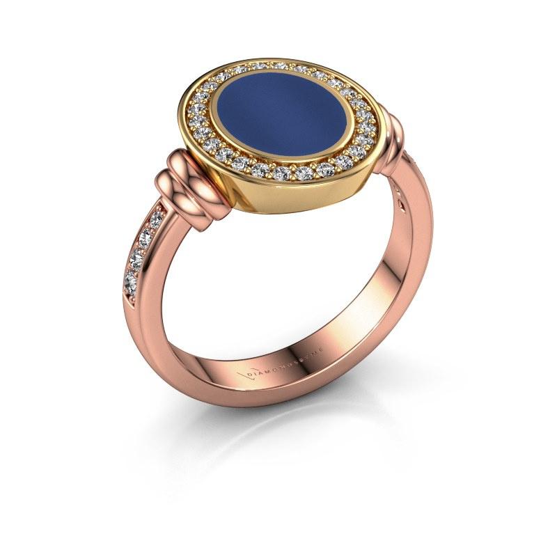 Zegelring Bailey 585 rosé goud lapis lazuli 10x8 mm