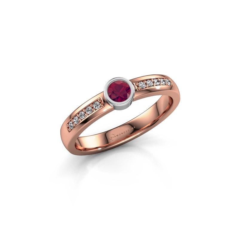 Engagement ring Ise 2 585 rose gold rhodolite 3.7 mm