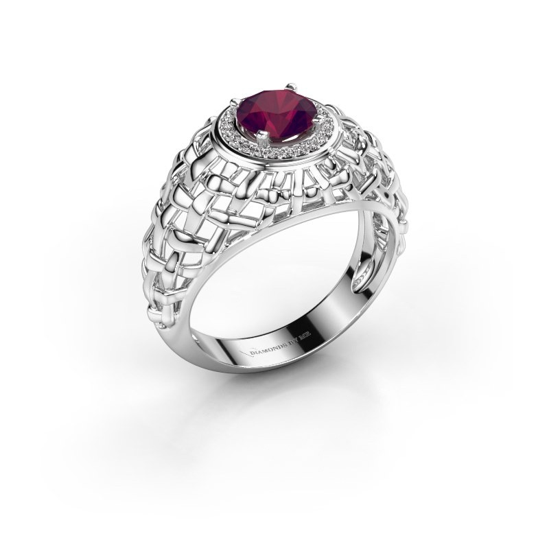 Pinky Ring Jens 950 Platin Rhodolit 6.5 mm