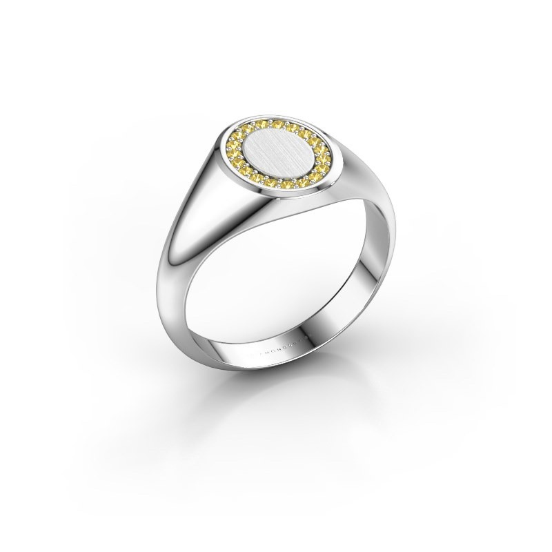 Pinky ring Floris Oval 1 950 platinum yellow sapphire 1.2 mm