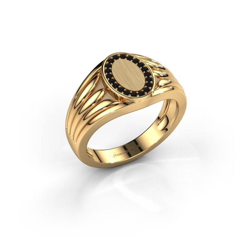 Pinkring Marinus 585 goud zwarte diamant 0.18 crt