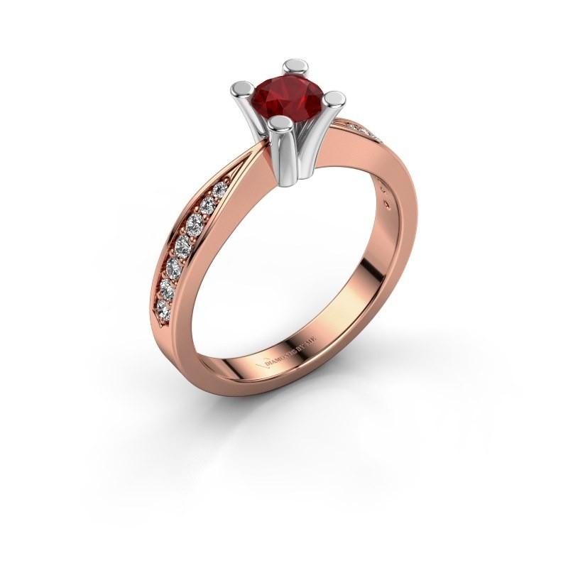 Promise ring Ichelle 2 585 rosé goud robijn 4.7 mm
