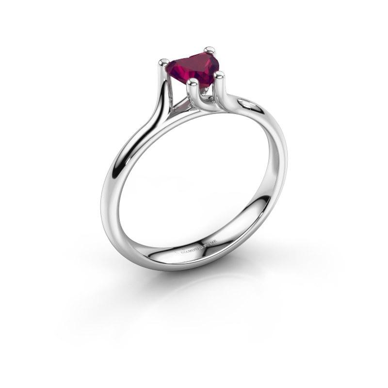 Engagement ring Dewi Heart 925 silver rhodolite 5 mm