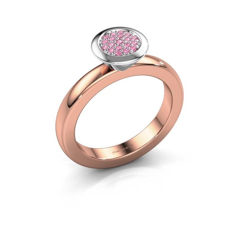 Stapelring Rani 585 rosé goud roze saffier 1 mm