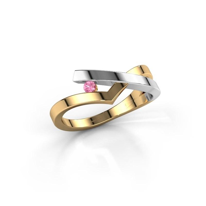 Ring Pamella 585 gold pink sapphire 2.2 mm