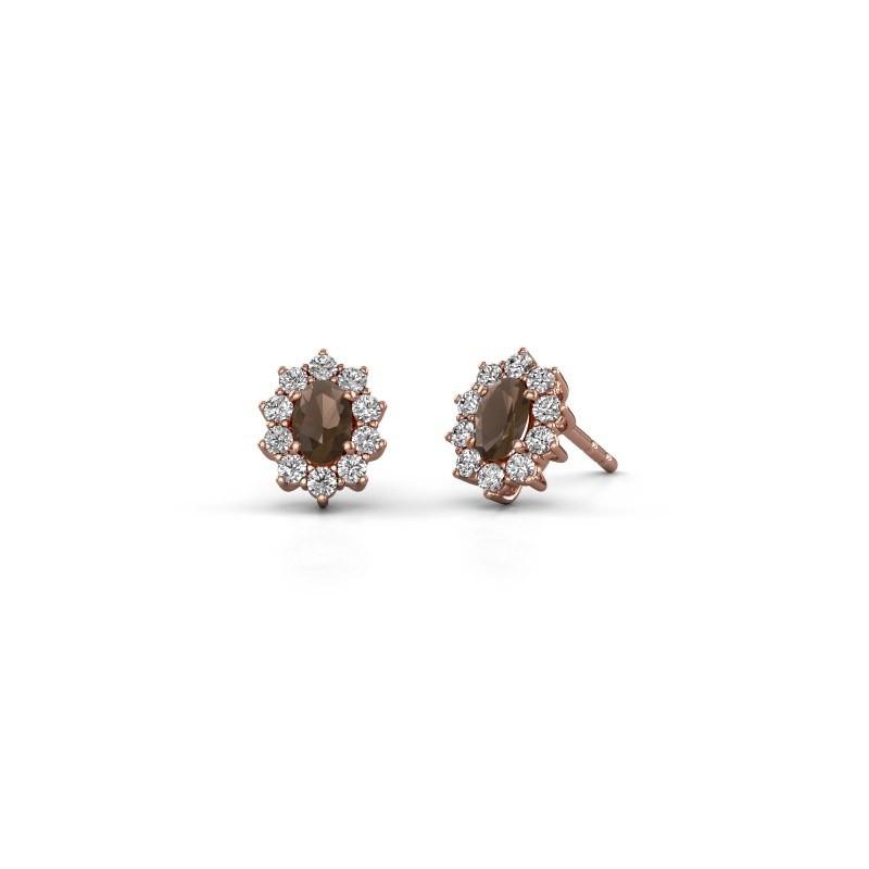 Oorbellen Leesa 375 rosé goud rookkwarts 6x4 mm