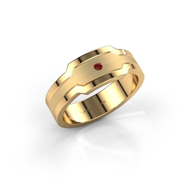 Men's ring Guido 585 gold garnet 2 mm