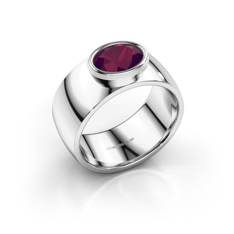 Ring Wilma 1 925 zilver rhodoliet 8x6 mm