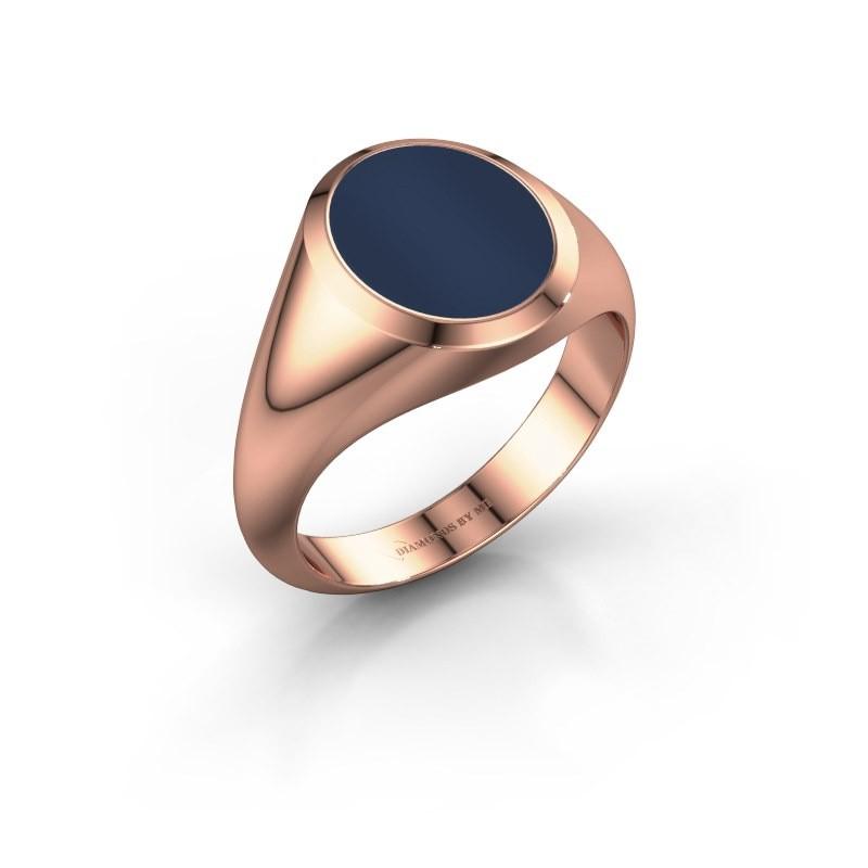 Signet ring Evon 2 375 rose gold dark blue sardonyx 12x10 mm