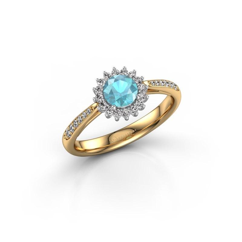 Verlovingsring Tilly RND 2 585 goud blauw topaas 5 mm