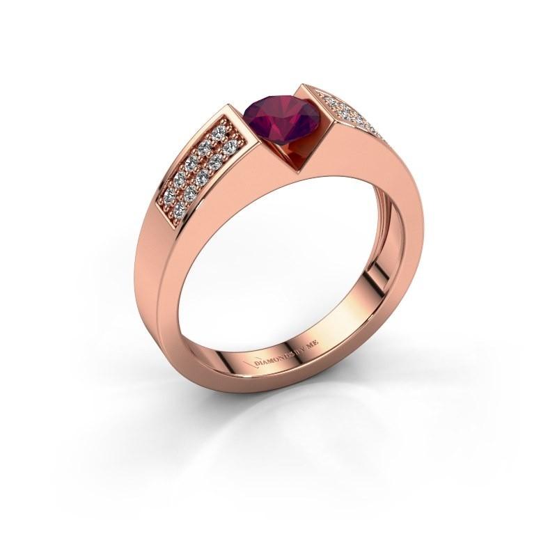 Verlovingsring Lizzy 3 375 rosé goud rhodoliet 5 mm